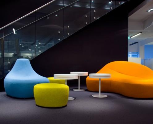 Fargerikt kontorareal interiørarkitekt Berentsen